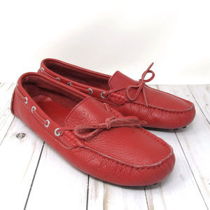 Superga Red Leather Driving Mocasins Italy Sz 40
